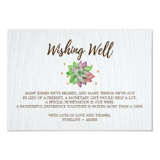 Boho Rustic Floral Succulent Wedding Wishing Well Card