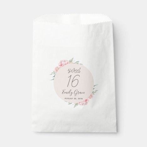 Boho Rustic Floral Sweet 16 Thank You Favor Bag