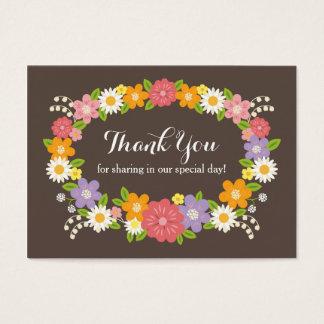 Boho Rustic Floral Wreath Wedding Business Card