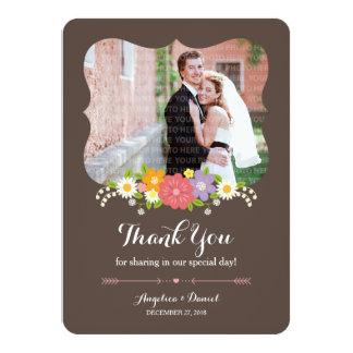 Boho Rustic Floral Wreath Wedding Card