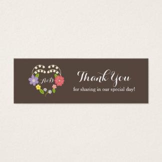 Boho Rustic Floral Wreath Wedding Mini Business Card