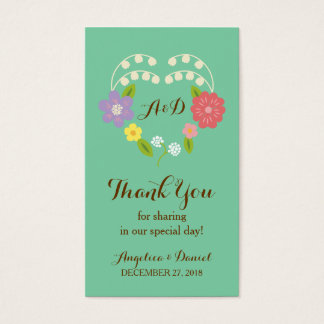 Boho Rustic Floral Wreath Wedding (Mint) Business Card