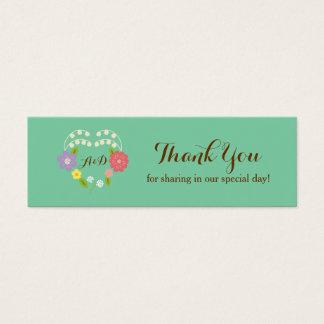 Boho Rustic Floral Wreath Wedding (Mint) Mini Business Card