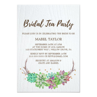 Boho Rustic Mint Floral Succulent Bridal Tea Party Card
