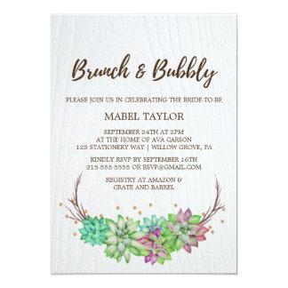 Boho Rustic Mint Floral Succulent Brunch & Bubbly Card