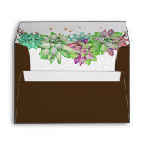 Boho Rustic Mint Floral Succulent Lined Wedding Envelope