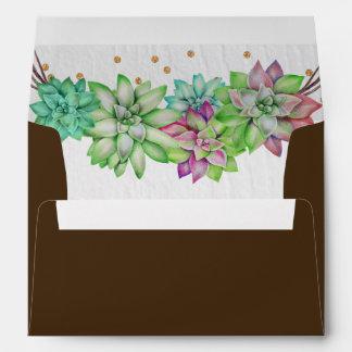 Boho Rustic Mint Floral Succulent Lined Wedding Envelope