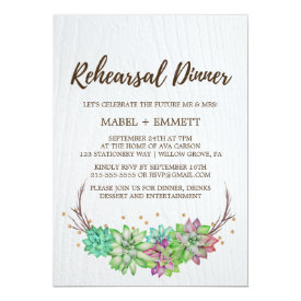 Boho Rustic Mint Floral Succulent Rehearsal Dinner Card