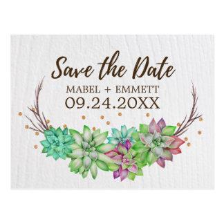 Boho Rustic Mint Floral Succulent Save the Date Postcard