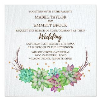 Boho Rustic Mint Floral Succulent Square Wedding Card