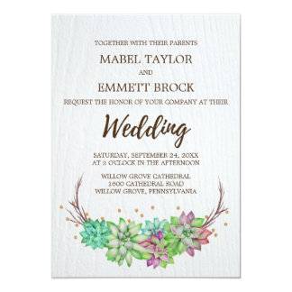 Boho Rustic Pink and Mint Floral Succulent Wedding Card