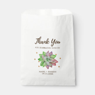 Boho Rustic Pink and Mint Floral Succulent Wedding Favor Bag