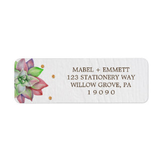 Boho Rustic Pink and Mint Floral Succulent Wedding Label