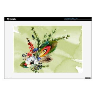 Boho rustic themed rainbow feather laptop skin
