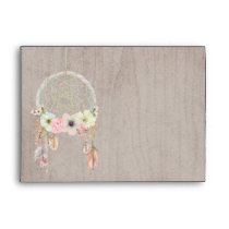 Boho Rustic Tribal Feather Dreamcatcher Envelope 2
