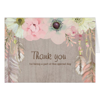 Boho Rustic Tribal Floral and Feather Invitation