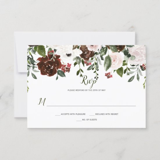Boho Rustic Watercolor Floral Topper RSVP Card