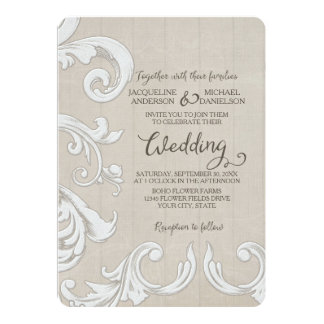 BOHO Rustic Wood n Lace Bohemian Country Chic Card