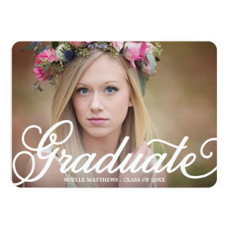 Boho Script in Kelly Green   Graduation Invitation