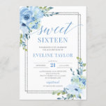 """Boho silver geometric blue floral sweet sixteen invitation<br><div class=""""desc"""">Boho silver geometric blue floral sweet sixteen invitation,  Contact me for matching items or for customization,  Blush Roses ©</div>"""