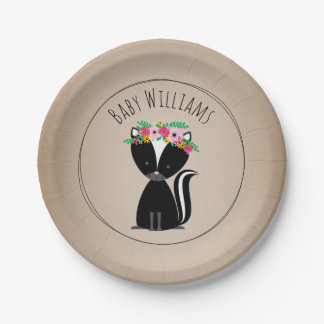Boho Skunk Cardstock Inspired Custom Baby Shower Paper Plate