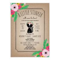 Boho Skunk Floral Cardstock Inspired Baby Shower Card