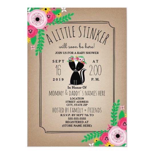 Boho Skunk Fl Cardstock Inspired Baby Shower Invitation