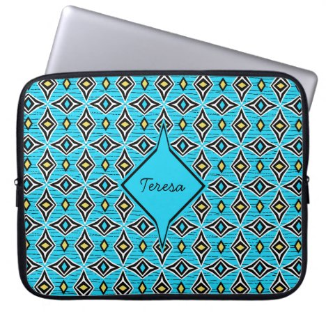 Boho style blue yellow diamond shaped design laptop sleeve