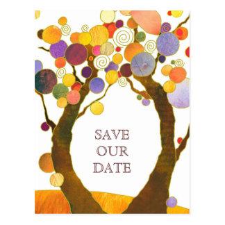 Boho Style Love Trees Wedding Save the Date Postcard