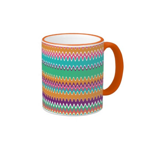 Boho Summer Zig Zag Ringer Coffee Mug