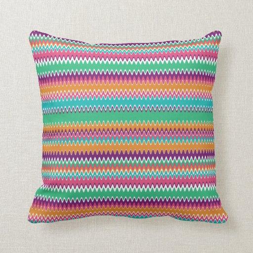 Boho Summer Zig Zag Throw Pillow