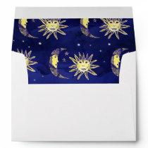 Boho sun moon and stars pattern blue watercolor envelope