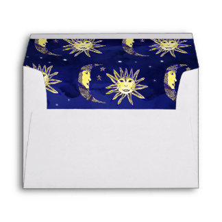 Boho sun moon and stars pattern blue watercolor envelope