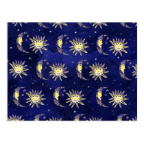 Boho sun moon and stars pattern blue watercolor postcard