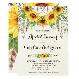 Boho Sunflower Bridal Shower Invitation Feathers