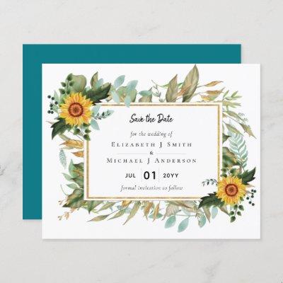 Boho Sunflower Sage Greenery Wedding