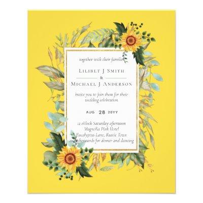 Boho Sunflower Sage Greenery Wedding Flyer