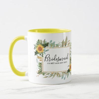 Boho Sunflower Sage Greenery Wedding Mug