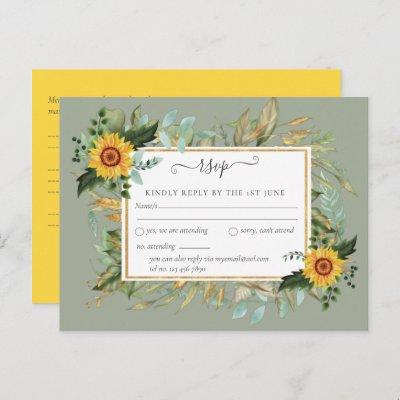 Boho Sunflower Sage Greenery Wedding Postcard