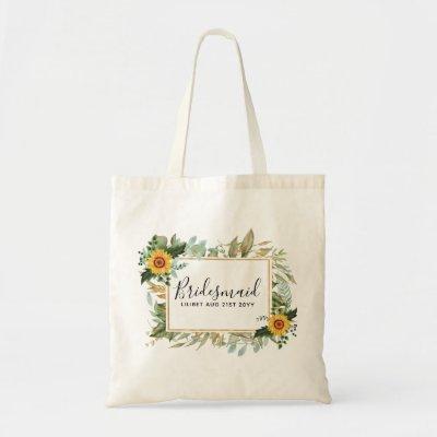 Boho Sunflower Sage Greenery Wedding Tote Bag