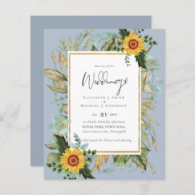 Boho Sunflowers Greenery Watercolor Wedding BUDGET