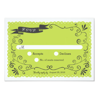 Boho Swirls, Curls, a Banner & Lovebirds Wedding Card