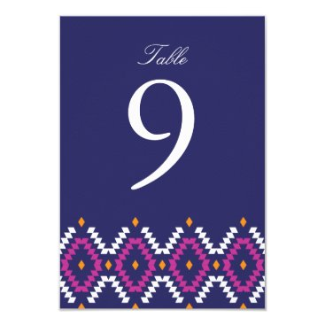 Aztec Themed Boho Table Number, Wedding Reception Card