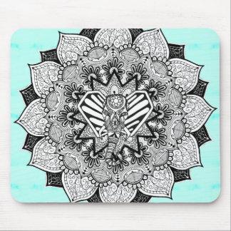 Boho Tangle Elephant and Hand Drawn Mandala Mouse Pad