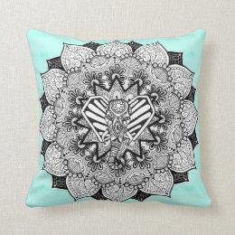 Boho Tangle Elephant and Hand Drawn Mandala Throw Pillow