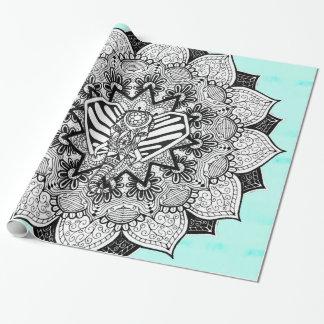 Boho Tangle Elephant and Hand Drawn Mandala Wrapping Paper