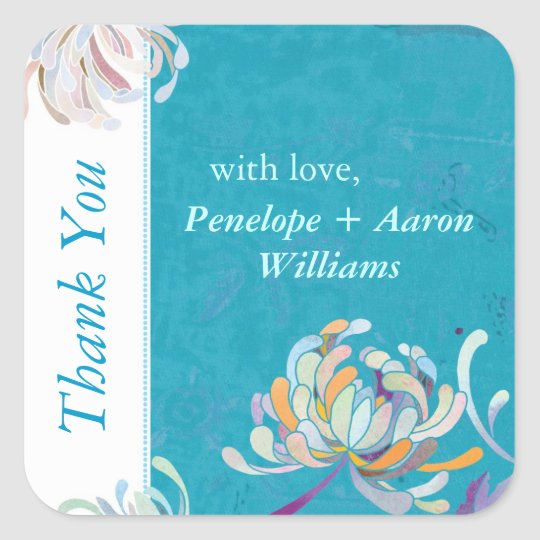 Boho Teal Floral Wedding Thank You Square Sticker