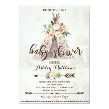 Aztec Themed Boho TeePee baby shower invitation