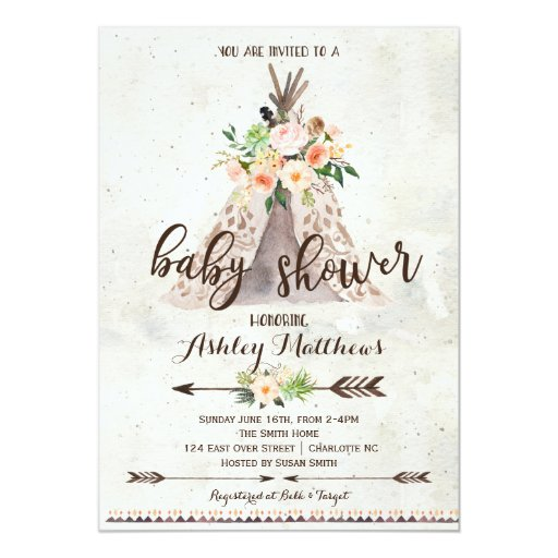 Boho TeePee baby shower invitation
