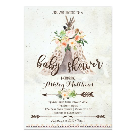 boho teepee baby shower invitation zazzle com